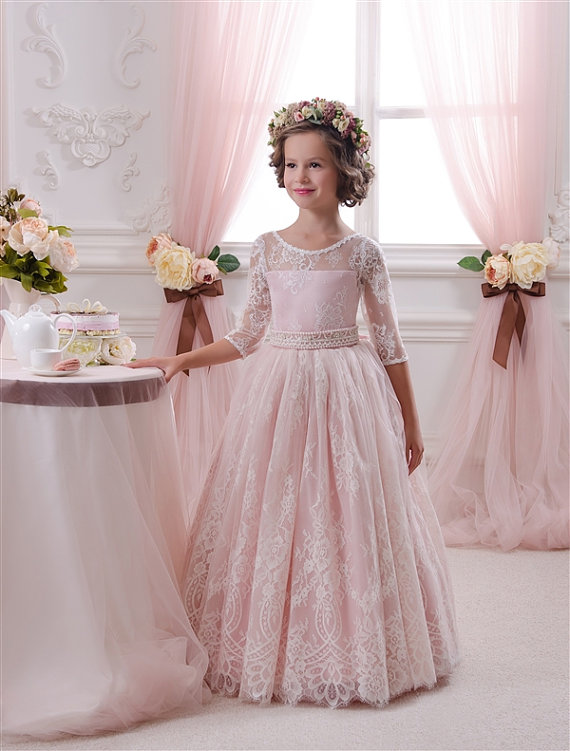 3 4 length sleeves lace flower girl dress floor length for Lace flower wedding dress