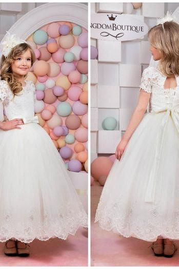 A-line Scoop Short Sleeves Lace Ankle-length Lace-up Flower Girl Dress First Communion Dress Custom Made Wedding Party Dress for Girls Kid Evening Party Dresses