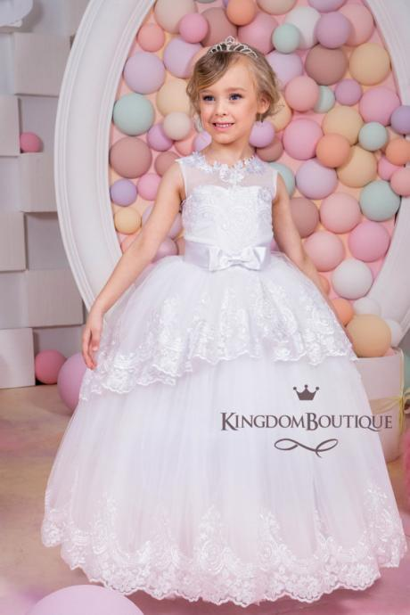 Princess Ball Gown First Communion Dress Scoop Tank Appliques Hem Flower Girl Dress with bow Custom Made Kid Pageants Dress Custom Made flower girl dresses