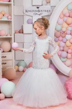 white mermaid flower girl dress lace long sleeves first communion dress sparking crystals girl dress for wedding mermaid first communion dress white flower girl dress