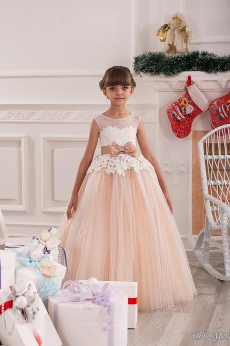 Champagne first communion dress with lace bodice and bow champagne flower girl dress Tank Flower Girl Dress Custom Made