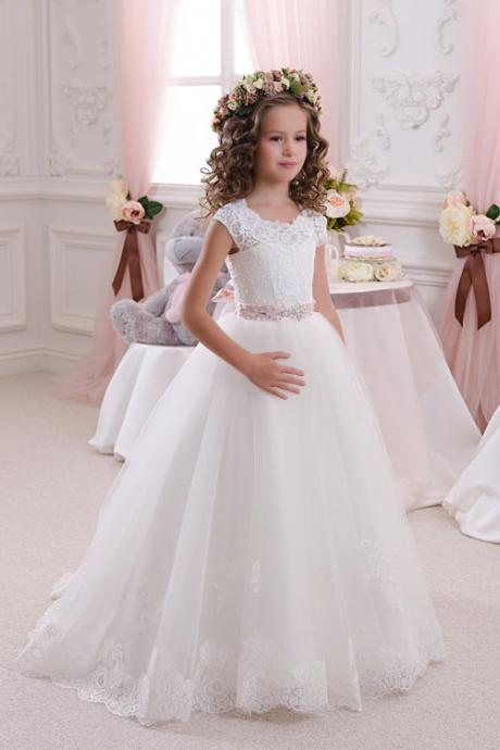 a-line cap sleeves flower girl dress key hole appliques hems first communion dress with beaded belt white first communion dress