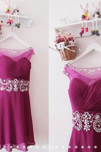 Homecoming Dress,Sexy Mini Beaded Homecoming Dress,Purple Chiffon Homecoming Dress,Sexy Homecoming Dress,Short Homecoming Dress