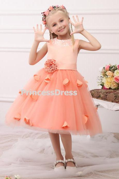 Tea-length Flower Girl Dress, Orange Kid Girl Dress For Wedding, Girl's Birthday Party Dress,Custom Made Flower Girl Dresses with Bow