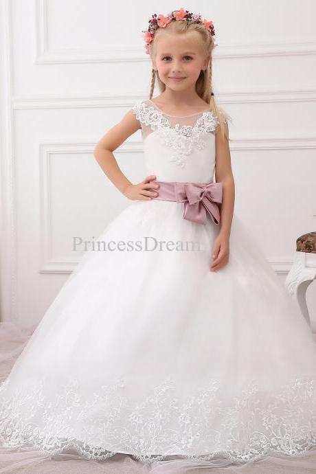 Ball Gown Scoop Flower Girl Dress With Blush Pink Belt and Bow, First Communion Dress with Bow,Appliques Hem Flower Girl Dresses