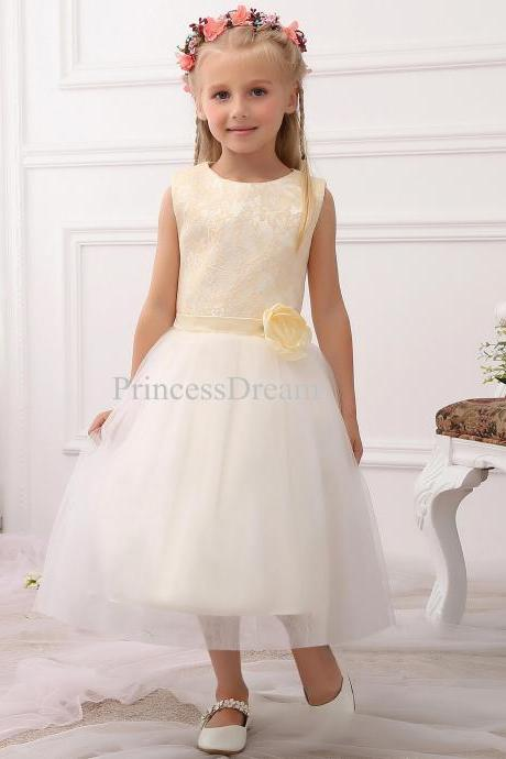 Lace Bodice Tulle Flower Girl Dress With Hand-made Flower,Tea-length Flower Girl Dress ,Sleeveless Scoop Flower Girl Dresses For Wedding