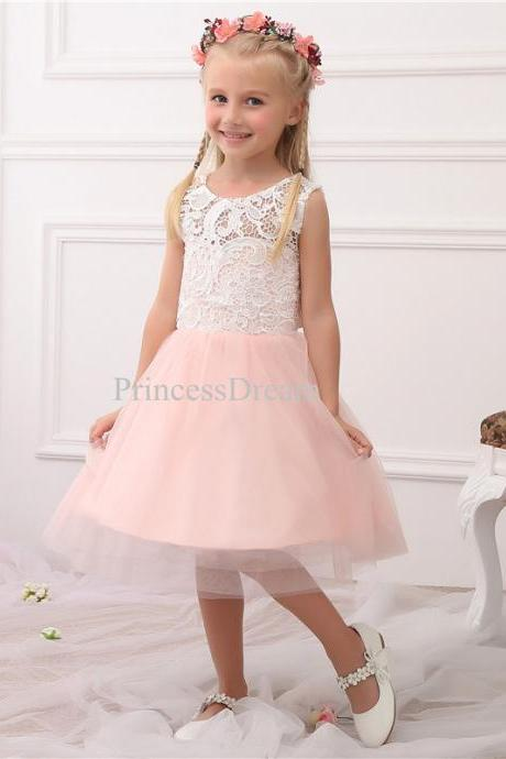 Pink Flower Girl Dress, Lace Bodice Tulle Skirt Flower Girl Dress,Custom Made Flower Girl Dress,Knee-length Flower Girl Dresses