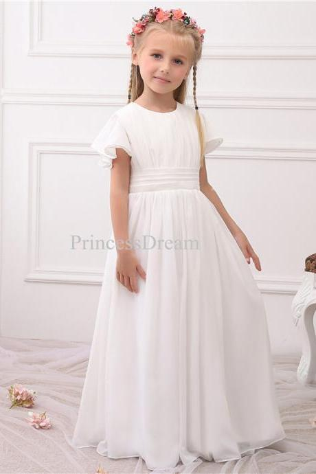 Short Sleeves Chiffon Flower Girl Dress, Junior Bridesmaid Dress,Chiffon First Communion Dress,White First Communion Dresses