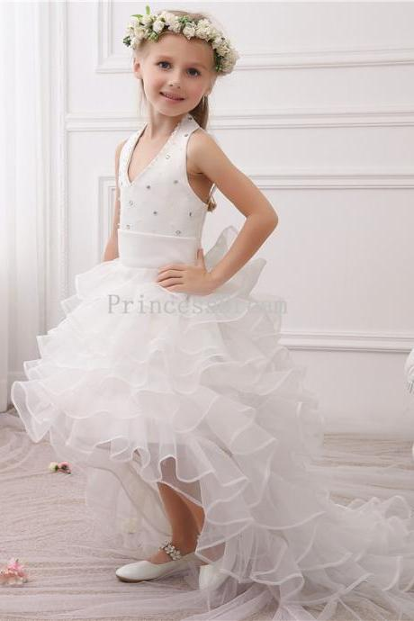 Halter First Communion Dress,White First Communion Dress With Train,Organza Flower Girl Dress,High-low Flower Girl Dresses