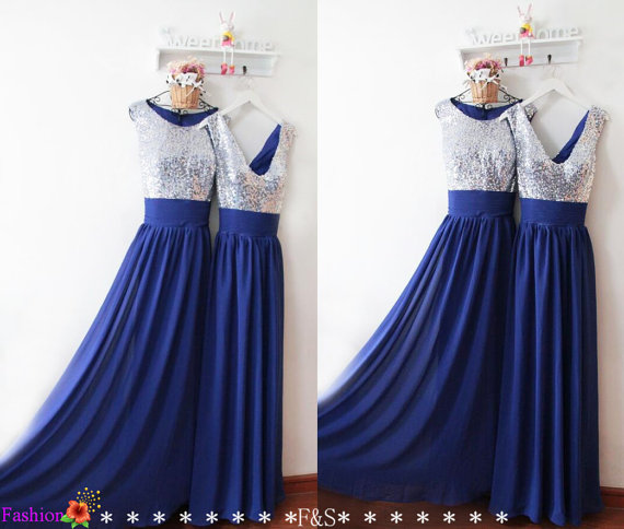 Royal blue bridesmaid dress silver sequin bridesmaid dress for Royal blue and silver wedding dresses